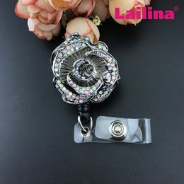 Wholesale 50pcs hot sale AB crystal ID badge reel Nurse brooch pins Retractable ID badge holder
