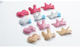 $enCountryForm.capitalKeyWord Canada - Baby Girls Hair Accessories Sequin Heart Bear Shiny Fabrics And Crown Hair Clip Kids Children Hairpin