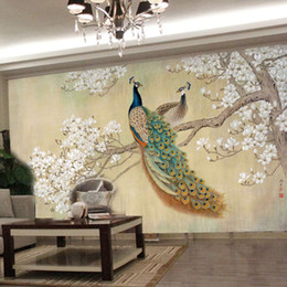 Discount silk backdrops - photo wallpaper modern art painting Chinese living room bedroom TV backdrop bird Peacock Magnolia large mural wallpaper