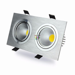 Discount aluminum recessed ceiling lights - Dimmable 20W 30W Led Down Lights Double Heads cob Led Ceiling Lights Recessed Downlights ac 85-265v with Drivers