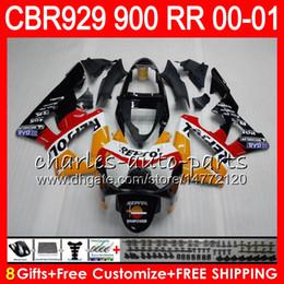 Honda Cbr929 Australia - Body For HONDA CBR 929RR CBR900RR CBR929RR 00 01 CBR 900RR 67HM1 CBR929 RR Repsol orange CBR900 RR CBR 929 RR 2000 2001 Fairing kit 8Gifts