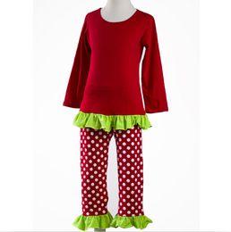 2c2f31e64 Mais novo venda quente de alta qualidade roupas roupas vermelhas jogo  plissado verde ponto branco calças