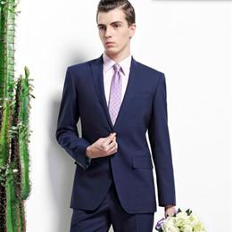 $enCountryForm.capitalKeyWord Australia - Haute couture men wedding suits blue men suits solid color lapel single breasted groom groomsman party tuxedos suits(jacket+pants)