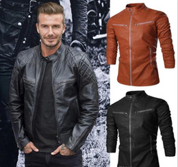 mens british leather jackets NZ - Personalize Men Autumn Jacket Leather Stand Collar Design Outwear Jacket For Mens Multi Pocket British Wild Motorcycle Men Jacket J160926