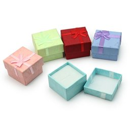 Wholesale Boxes Packaging Australia - Jewelry Ring Earring Ring Necklace Bowknot Decor Square Package Gift Case Boxes Cardboard Display Box 41*41*30mm