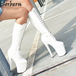 lace red thigh high boots Australia - Women Sexy Fashion Shoes Knee High Boots Lace-Up Chunky Heeled Platform Thigh High Boots White Stiletto Zip Leather Thin High-Heel Boots