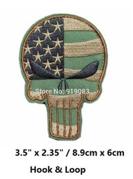 Usa Flag Clothing Canada - PUNISHER SKULL USA WAVING FLAG MILSPEC US ARMY MORALE ISAF DESERT Hook & Loop Patch tv moive series badge for clothing