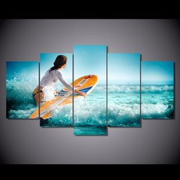Adventure Figure NZ - 5 Pcs Set HD Printed surf girl adventure sports Painting Canvas Print room decor print poster picture canvas Free shipping NY-6284