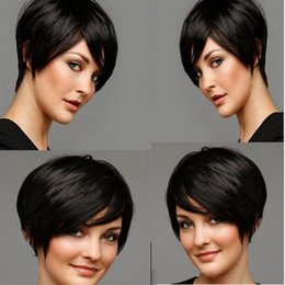 striaght hair UK - short cut striaght wigs simulation human hair short straight wig with bangs for black women in stock