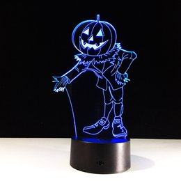 3d usb mouse UK - Pumpkin Hallowen 3D Optical Illusion Lamp Night Light DC 5V USB Charging Battery Wholesale Dropshipping Free Shipping