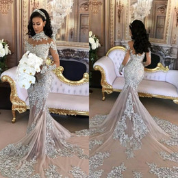 ae4223a827d Sexy mermaid trumpet Sparkly wedding dreSSeS online shopping - Dubai Arabic  Luxury Sparkly Wedding Dresses Sexy