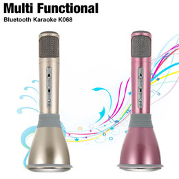 Record Music Computer Canada - K068 Karaoke Player Wireless Bluetooth Music Condenser Microphone With Mic Speaker KTV Singing Record For Phones 6 6s 7 7plus Computer