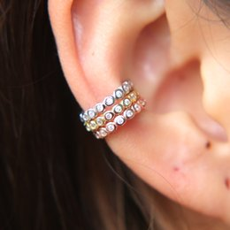 Top piercings online shopping - top quality sterling silver three color cuff bezel AAA cubic zirconia cz circle no pierced girl women stack cuff earring