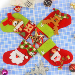 Short Cloth Hanging Bags Canada - Christmas Stockings Sock Ornament Decoration Candy Gift Bags Decorative Santa Decor Christmas Tree Hanging Accessories Reindeer Party