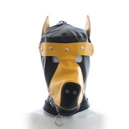 Barato Conjuntos De Escravidão Adulto-2017 NEW Sex Product Soft Leather Bondage Evil Dog Mask Eyepatch Gagged Headgear Hood Adulto BDSM Sex Toys Bed Game Set