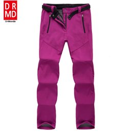 Wholesale- outdoor Winter ski pants women solft shell pants plus size waterproof snow pants thicken fleece hiking pant snowboard trousers from pink waterproof trousers manufacturers