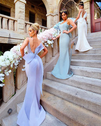 75f01fe665 Modest Mermaid Bridesmaid Dresses with Big Bow Sexy Spaghetti Straps  Backless Wedding Guest Gowns Lace Appliques Satin Maid of Honor Dress