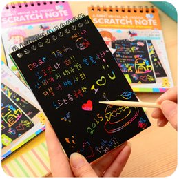 Discount cute spiral notebooks - Wholesale- 1pc DIY Scratchbook Scratch Note Drawing Sketchbook Notebook Kids Party Gift Creative Imagination Development