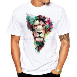 wholesale tiger t shirts Canada - New Arrivals 2017 Men's Fashion Painted King Design T Shirt Cool Summer Tiger Printed Tops High Quality Casual Tee