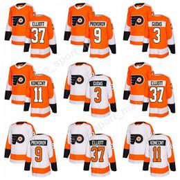 Custom Philadelphia Flyers 3 Radko Gudas 9 Ivan Provorov Jersey Ice Hockey 11  Travis Konecny 37 Brian Elliott Orange White c0e1d0538