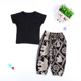 $enCountryForm.capitalKeyWord Canada - baby clothing sets summer girls boys clothes suit black t shirts boy toddler harem pants girl baby clothes flying elephant pants clothes