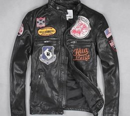 leather motorcycle jacket small Canada - urban baron man genuine leather jacket with 8 standard First layer of leather motorcycle suit Stand Collar