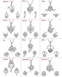 Discount zodiac pendants women - 12 Zodiac Signs 925 Silver Plated Jewelry Set Fashion Crystal Earrings Pendants Necklaces Set For Women Girl Gift