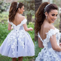 flower ball navy 2019 - Lilac Charming Short Prom Dresses 2018 Off the Shoulder with 3D Floral Flowers Knee Length Ball Gowns for Girls Homecomi