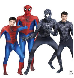 Costume Pour Homme Et Femme Pour Homme Zentai Pas Cher-Halloween adult marvel lycra Ultimate The Amazing Spiderman Costume Cosplay mask lens 3D Impression enfant et adulte costume zentai