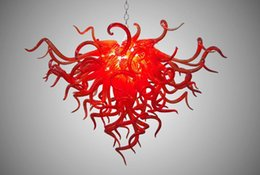 $enCountryForm.capitalKeyWord Australia - Decorative Glass Red Chandelier Lamp Dining Lamp Restaurant Design Style Hand Blown Glass LED Small Dining Lamp Chandelier