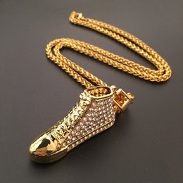 Alloy Shoes NZ - New Classic 18K Gold Plated Fine Rap Hip Hop Jewelry Alloy Full Rhinestone Sport Shoes HIPHOP Pendant Necklace