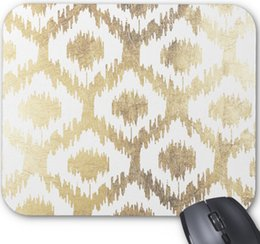 $enCountryForm.capitalKeyWord Canada - Modern white handrawn ikat pattern faux gold mouse pad,Rectangular Non-Slip Computer Accessories Mouse Pad,9*7.5 inch,Pack of X