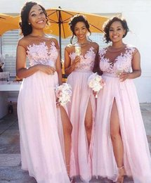 Blush Bridesmaids Wedding Pas Cher-2017 New Chiffon Blush Pink Illusion Lace Applique Long Robes de demoiselle d'honneur Tulle Split Ruched Floor Length Wedding Party Robes de soirée