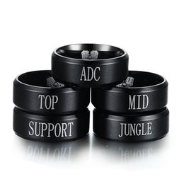 $enCountryForm.capitalKeyWord UK - Unisex Fashion Anime Products LOL Tactical Position ADC,TOP,MID,SUPPORT,JUNGLE Black Stainless Finger Ring Size 6 7 8 9 10 11 12 13