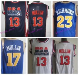 Barato Shirts Men Usa-Novos 17 Chris Mullin Jerseys Throwback EUA Dream Team Retro 23 Mitch Jason Richmond Camisas Retro Uniformes Rev 30 Novo Material Moda Homens