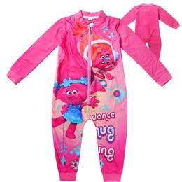 pajamas for girls 2018 - Girls Trolls Pajamas Trolls Rompers for kids Sleepwear For Girls Sleepwear Spring Autumn Cartoon Kids Pajamas Free shipp