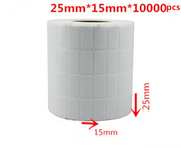 White blank sticker paper online shopping - 25 mm roll blank or white paper barcode self adhesive sticker label
