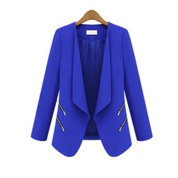 Barato Casaco De Terno Azul Lazer-Atacado- Preto branco e azul Office Lady Leisure Suit Jacket Zipper Long Sleeve Solid Thin Coat Suit à moda