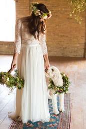 $enCountryForm.capitalKeyWord Australia - 2019 Long Sleeve Boho Lace Bohemian Wedding Dresses Arabic Muslim Wedding Gowns Buttons Full Lace Top Chiffon Plus Size Bridal Dresses