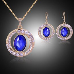 wholesale blue diamond jewelry sets NZ - Blue Diamond Crystal Ring Pendants Necklace Earrings Jewelry Sets with Gold Chain for Women Wedding Bridesmaid Jewelry Gift
