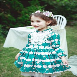 Vêtements De Fête Pour Enfants Pas Cher-Autumn Babies Lace Floral Robes Baby Girl Princess tutu party Dress Kids Girl Vêtements Coréens 2017 vêtements pour enfants