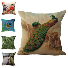 $enCountryForm.capitalKeyWord Canada - Green Peacock Feather Birds Throw Pillow Cases Cushion Cover Pillowcase Linen Cotton Square Pillow Case Pillowslip Home Sofa Decor 240500