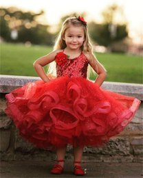 Longueur De Thé Pas Cher-Lovely Red Tea Longueur des filles Dresses Pageant Halter Sequins Lace Puffy First Communion Dress Organza mignon personnalisé Filles Fleur Dress