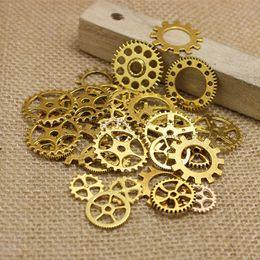 $enCountryForm.capitalKeyWord Australia - PULCHRITUDE Mix100 pcs Antique gold Charms Gear Pendant Antique bronze Fit Bracelets Necklace DIY Metal Jewelry Making T0187
