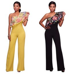 Barato Calça De Ruffle Larga-Moda Sexy One Shoulder Mulher Jumpsuits Floral Ruffle Ladies Boot Cut Rompers Casual Party Overalls Long Wide Pants Bandage Bodycon