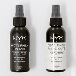 Maquillaje En Spray Baratos-NYX Dewy Finish Matte Acabado Set de maquillaje Spray Set de duración prolongada Spray 60ML Face Beauty DHL Gratis