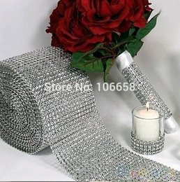 Taille Bling Pas Cher-Vente en gros - 1 Yard diamon wrap Mesh Trim Décoration de mariage Bling Diamond Mesh Wrap Cake Roll Sparkle Faux Faux Rhinestone Ribbons