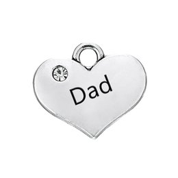 $enCountryForm.capitalKeyWord Canada - Hot Sell Dad Engraved Words Clear Crystal Heart Pendant With Antique Silver Plated Fashion Charm DIY Necklaces&Bracelets