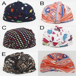 Wholesale Infant Girl NZ - Beanies Indian Bohemia Caps newborn baby girl hats cartoon star colorful print cap kid Fashion Knotted Comfortable Cotton Hats infant hat