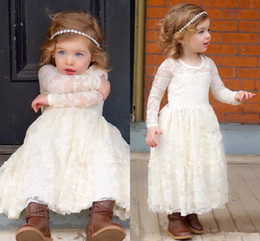 Barato Vestidos Manga Longa Desfile Barato-Vintage Branco Full Lace Flower Girl Vestidos para Casamentos Long Sleeves Andar Comprimento Cheap Girl Pageant Vestidos Crianças Princesa Communion Dress
